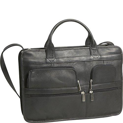 David King Leather Multi Pocket Organizer Briefcase in Black