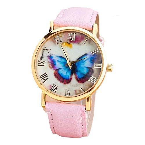 Han Shi Wristwatch, Women Fashion Butterfly Print Leather Band Analog Quartz Watch Clock (A, Pink) ()