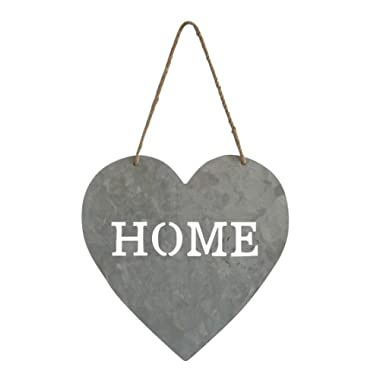 Cheung's Heart Shaped Metal 9.5  x 15  Home Sign | Lightweight Metal & Twine Rope | For Indoor, Outdoor, Kitchen & Patio | Vintage, Rustic, Farmhouse Design |