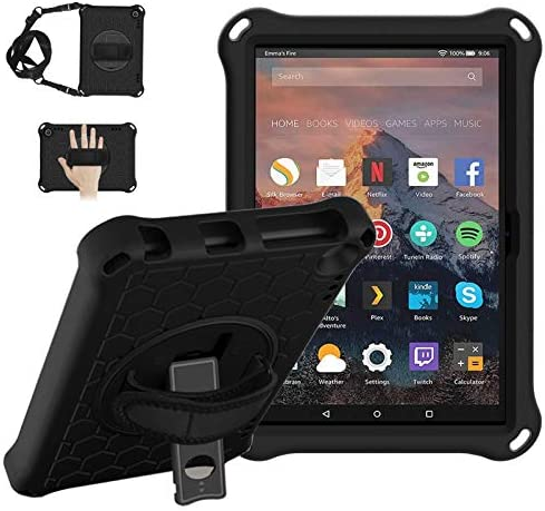 CASEHAVEN Fire HD 8 Case, Fire HD 8 Plus Case 2020 Release tenth Generation, Heavy Duty Shock Proof EVA Armor Protective Case with 360 Rotating Stand, Hand Grip, Shoulder Strap - Black