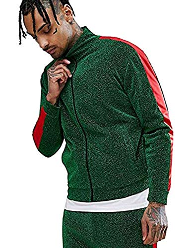 COOFANDY Men's Hip Hop Zip Up Varsity Bomber Jacket Premium Baseball Track Jackets with Side Taping Green ()