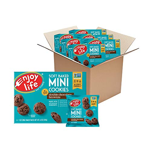 Enjoy Life Foods Mini Double Chocolate Brownie Soft Baked Cookies, Nut Free Cookies, Vegan, Gluten Free, 6 Boxes (6 Snack Packs Each), 1 Ounce (Pack of 36) (F10800W-Parent)