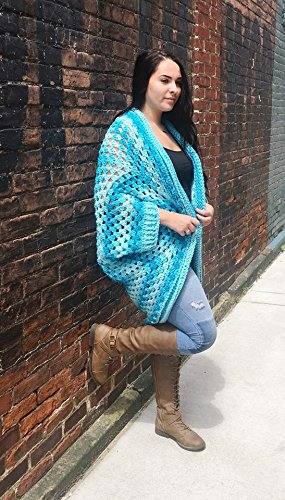 Amazon.com  Womens Bulky Ombre Crochet Shrug Cardigan Oversize One Size  Fits Most  Handmade 07a4d63a2