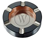 Visol Tyrus Carbon Fiber Round Cigar Ashtray with Personalized Laser Engraving of Initial