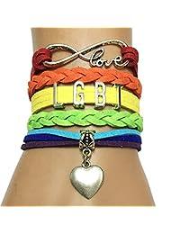 DOLON Rainbow Gay Color LGBT Bracelet Best Lesbian Gifts Heart Charm