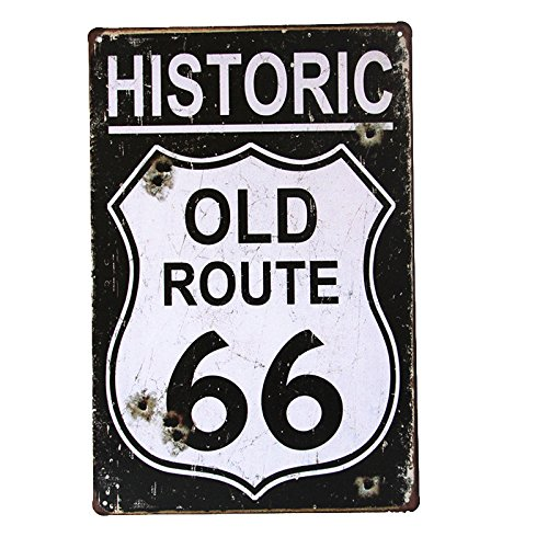 DL- HISTORIC OLD ROUTE 66 Metal Plaque Wall Decor