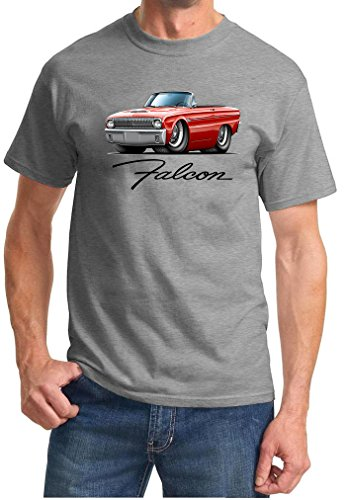 1960-63 Ford Falcon Convertible Full Color Design Tshirt XL Grey