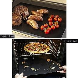 KOLLPCTT Premium Quality No-Stick Baking Mat & Cookie Sheet - Teflon BBQ Grill Sheet/Mat, Black(15.7\