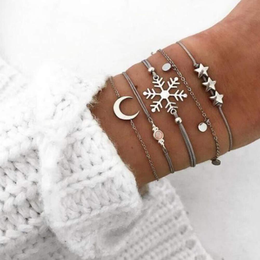 5lightrich Set di bracciali per Ragazze da Donna 5 Pezzi//Set Moda Donna Fiocco di Neve Luna Stella Lega Braccialetto Braccialetto Gioielli Regalo