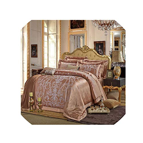 Silver Gold Luxury Silk Duvet Cover Bedding Set Queen King Size Embroidery Bed Set Bed Sheet,Color 1,King 6Pcs,Bed Sheet ()