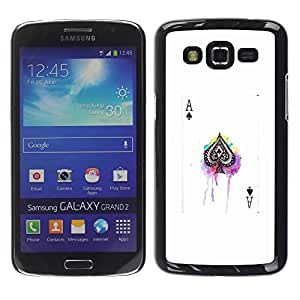 FlareStar Colour Printing Ace Spades Poker Game White Black Card cáscara Funda Case Caso de plástico para Samsung Galaxy Grand 2 II / SM-G7102 / SM-G7105