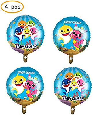 Micher 4 pcs Baby Shark Balloons Party Supplies, 18 pulgadas ...