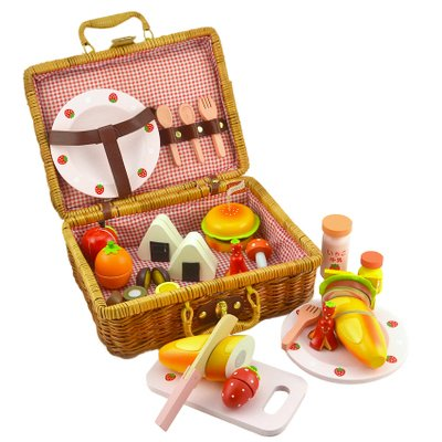 O-Toys Picnic Wooden Toys Pretend Food Cutting Set Educational Learning Toys for Boys Girls Birthday Thanksgiving Christmas Gifts