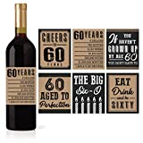 6 60th Birthday Wine or Beer Bottle Labels Stickers