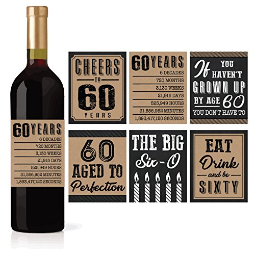 6 60th Birthday Wine or Beer Bottle Labels Stickers Present, 1958 Bday Milestone Gifts For Him Man, Cheers to 60 Years, Vintage Sixty Funny Gag Unique Party Decorations Supplies For Men Husband Male