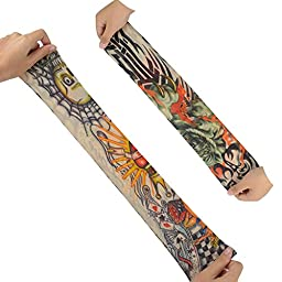 6pcs Temporary Tattoo Sleeves, Hmxpls Body Art Arm Stockings Slip Accessories Fake Temporary Tattoo Sleeves, Tiger, Crown Heart, Skull, Tribal Shape