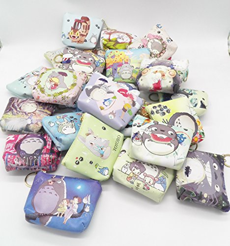 Vinyl Coin Zipper (Any Five ~ Extremely Cute Totoro No Face Vinyl Multi Purpose Zipper Change Coin Purse Pouch)