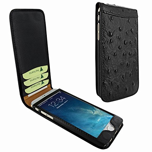 Piel Frama 689 Black Ostrich Magnetic Leather Case for Apple iPhone 6 Plus / 6S Plus by Piel Frama