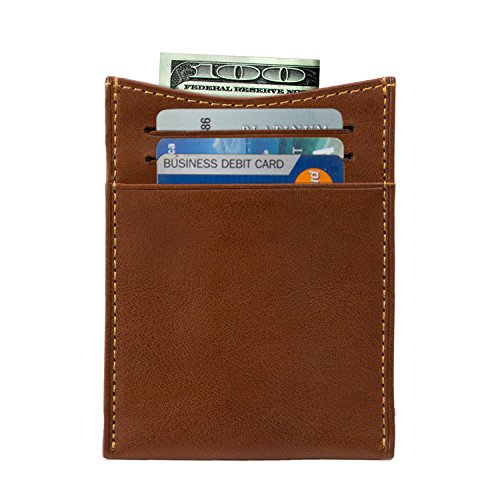 Italian Cow Wallet Tension Spring with Perotti Mens Cognac Credit Money Leather Card Clip Tony Slots wqtEx