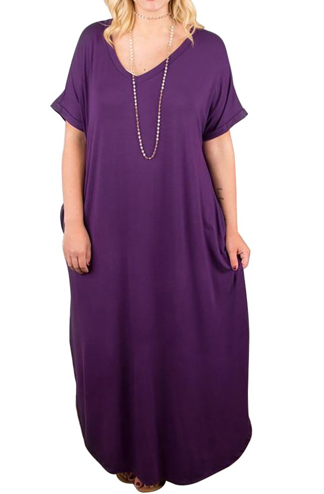 Women\'s Casual Loose Long Dress Short Sleeve Spaghetti Strap Cold Shoulder Split Maxi Dresses with Pocket (Purple, X-Large)