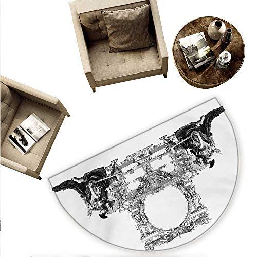 Victorian Half Round Door mats Victorian Frame with a Gladiator Warrior Roman Headpiece Ancient Design Bathroom Mat H 70.8