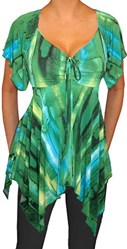 Funfash Plus Size Women Emerald Green Deep V Neck Top Blouse Shirt Made In - In Usa Top Brands