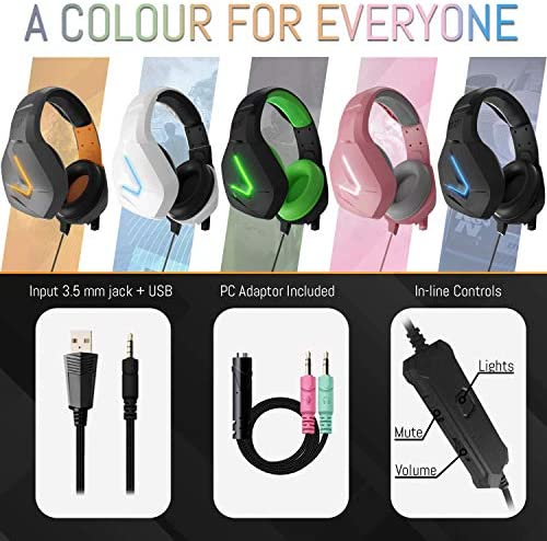 Orzly Gaming Headset for PC and Gaming Consoles PS5, PS4, Xbox Series X | S, Xbox ONE, Nintendo Switch & Google Stadia Stereo Sound Headphones with Noise Cancelling mic - Hornet RXH-20 Abyss Edition