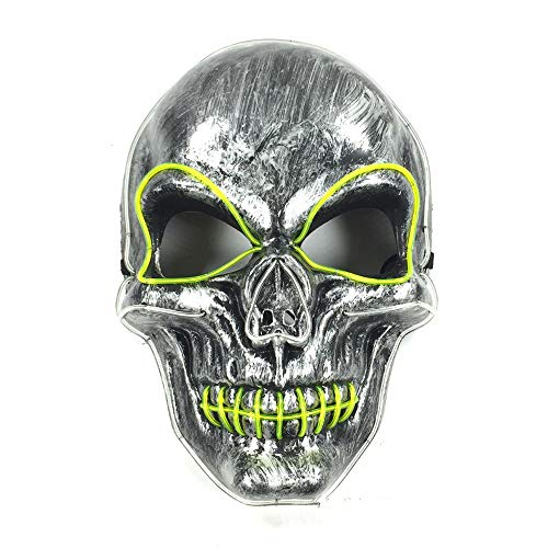 Frightening Luminous EL Wire Led Mask Halloween Light Up Cosplay Mask Costume Masks for Halloween Show Festival Party (Blue+green-24166cm/power Switch Button) ()