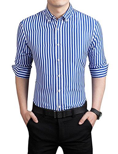 KIMIST Men's Casual Business Vertical Striped Button Down Long Sleeve Dress Shirts (Medium, Blue)