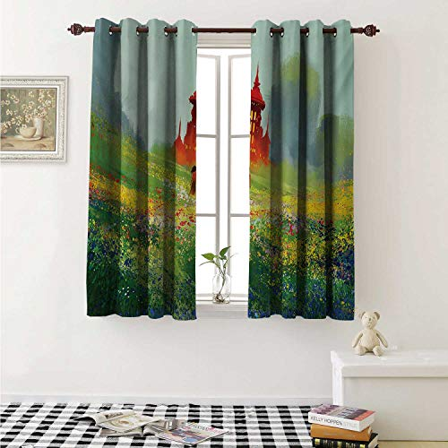 shenglv Fantasy Blackout Draperies for Bedroom Lady in Floral Field Meadow to Ancient Red Castle Before Sublime Mountain Artwork Curtains Kitchen Valance W72 x L63 Inch Red Green (Floral Fields Valance)