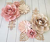BUBBAPAINT. 3D Paper Flower Decorations for Wall. Backdrop for Décor. Giant Size Pre-Assembled Flower. Girld Nursery Wall Decor. Wendding, Bridal Shower, Baby Shower, Rooms. Pink and Cream