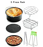 Universal 7 Piece Air Fryer Accessory Pack for Gowise Phillips or More Brand Air Fryer Accessories Kit of 5 Fit all 3.7QT-5.3QT-5.8QT-Cake Barrel,Pizza Pan,Metal Holder,Skewer Rack,Silicone Mat