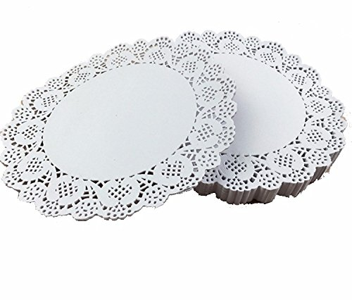 Wedding decoration table supplier paper Lace Doilies White cake pleacement paper mat craft party vintage decor 160 Pcs 7.5 inch (Jewel Heart Box Wedding Favors)