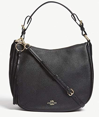 - COACH Women's Polished Pebble Leather Sutton Hobo Gold/Black One Size