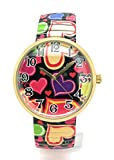 Ladies Hearts Love Colorful Stretch Elastic Band Fashion Watch Versales