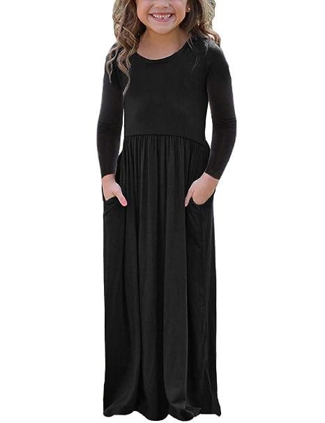 f74528e4af Lrud Girls Kids Plain Long/Short Sleeve Maxi Pocket Swing Dress Age 4-13  Years: Amazon.co.uk: Clothing