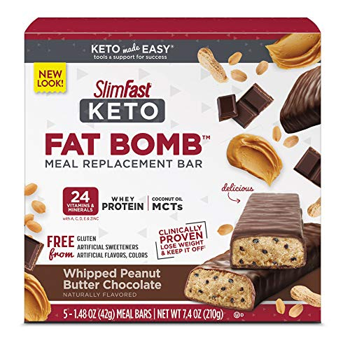 SlimFast Keto Meal Replacement Bar – Whipped Peanut Butter Chocolate – 5 Count Box – Pantry Friendly