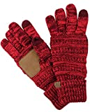 C.C Unisex Cable Knit Winter Warm Anti-Slip Touchscreen Texting Gloves, 2 Tone Burgundy