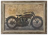 Route 66 Motorcycle Map Artwork | Vintage Style Americana Wall Art