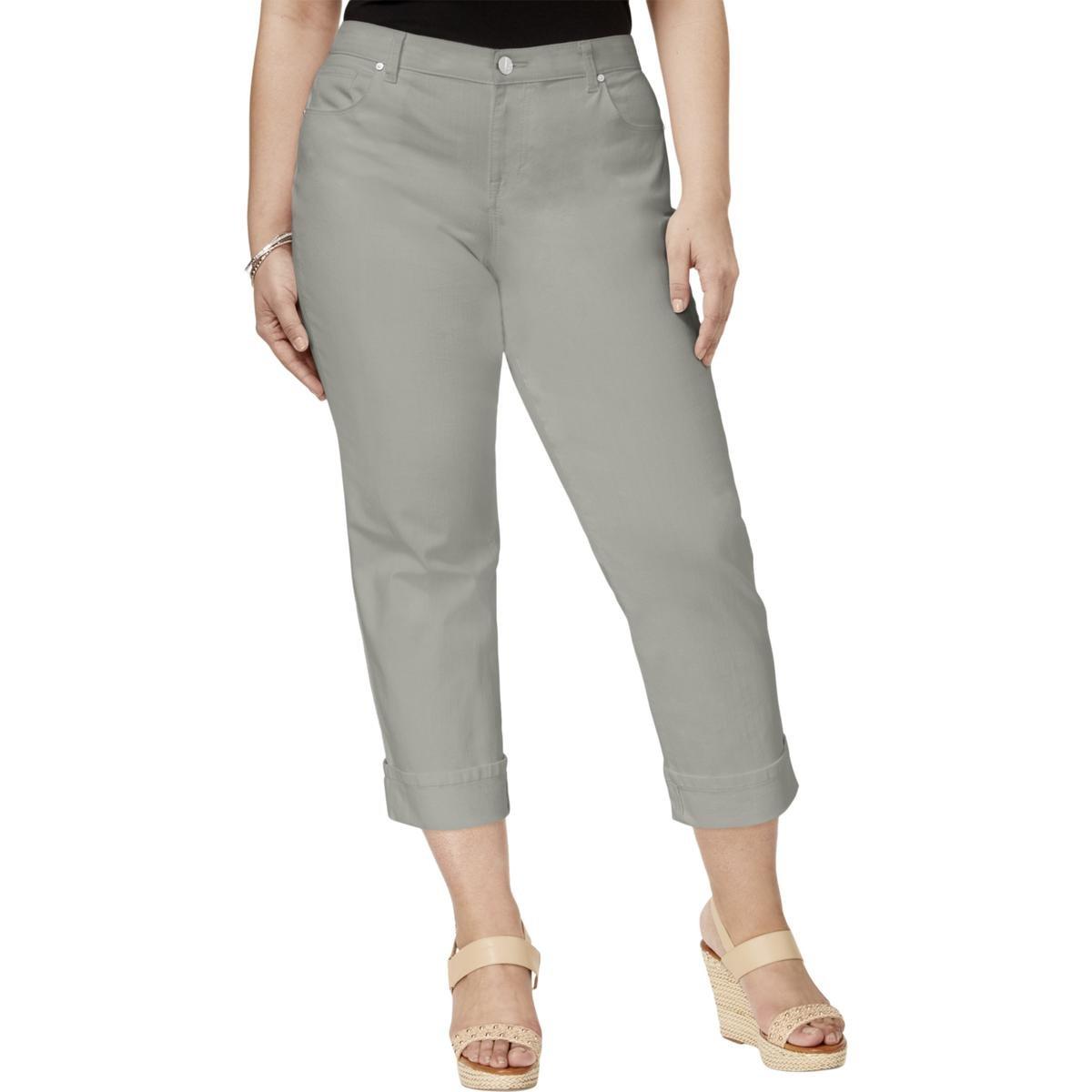 Style & Co. Womens Plus Twill Cuffed Capri Pants Gray 24W