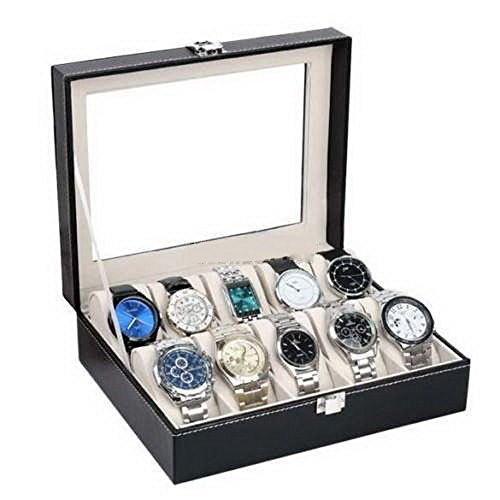 10 Slots Watch Display Case Leather Jewelry Organizer Storage Box Holder Collection Top Glass - For Men Uncrate