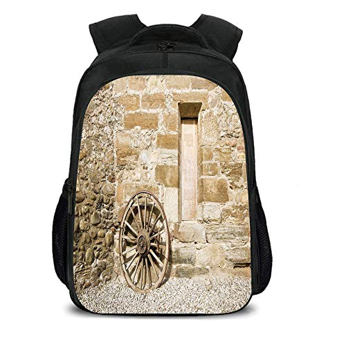 iPrint 15.7'' School Backpack,Barn Wood Wagon Wheel,Ancient Rural Facade with Old Wheel Traditional Country House Decorative,Brown Light Brown,for Teenagers Girls Boys by iPrint