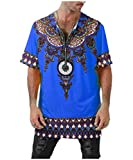 Mfasica Mens Zip Up Dashiki Relaxed-Fit African Style Summer Tees Top Blue 3XL