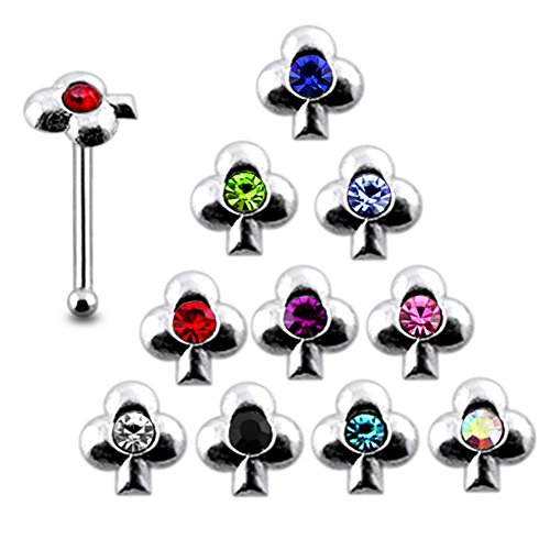 (Pack of 20 Pieces Mix Color 22G Sterling Silver Clover Ball End Nose Pin)