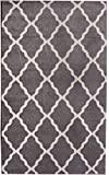 Cheap Gray and Ivory Morrocan Trellis Rug 5-Feet by 8-Feet Designer Area Rug