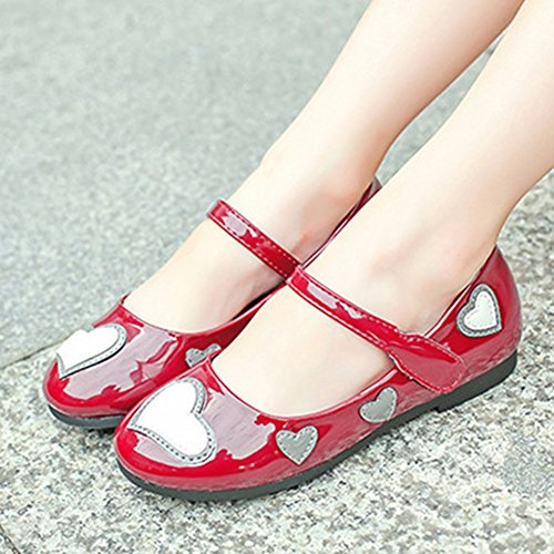 T-JULY Summer Girls Mary Jane Shoes Love Heart Ballet Flat with Strap (Toddler/Little Kid/Big Kid) Wine Red by T-JULY (Image #2)