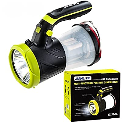 SAMLITE- Super Bright 4 in 1 Portable LED Searchlight & Torch Light Lamp, Rechargeable LED Lantern Flashlight with USB Cord Charging, Hiking, Camping, Indoor & Outdoor, Shoulder Strap Included