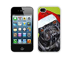 Personalized Design Christmas Black Dog With Red Hat Iphone 4s,Apple Iphone 4s White TPU Cover Case
