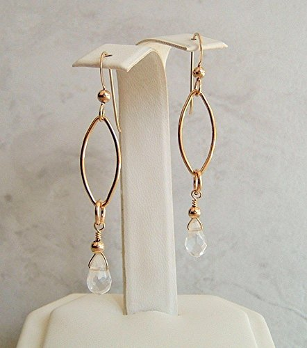 Clear Teardrop Briolette Crystal Quartz Marquise Oval Jewelry Frame 14K Gold Filled Earrings (Frame Quartz Ring)