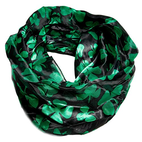 Infinitely Irish Black and Green Shamrock Loop Scarf